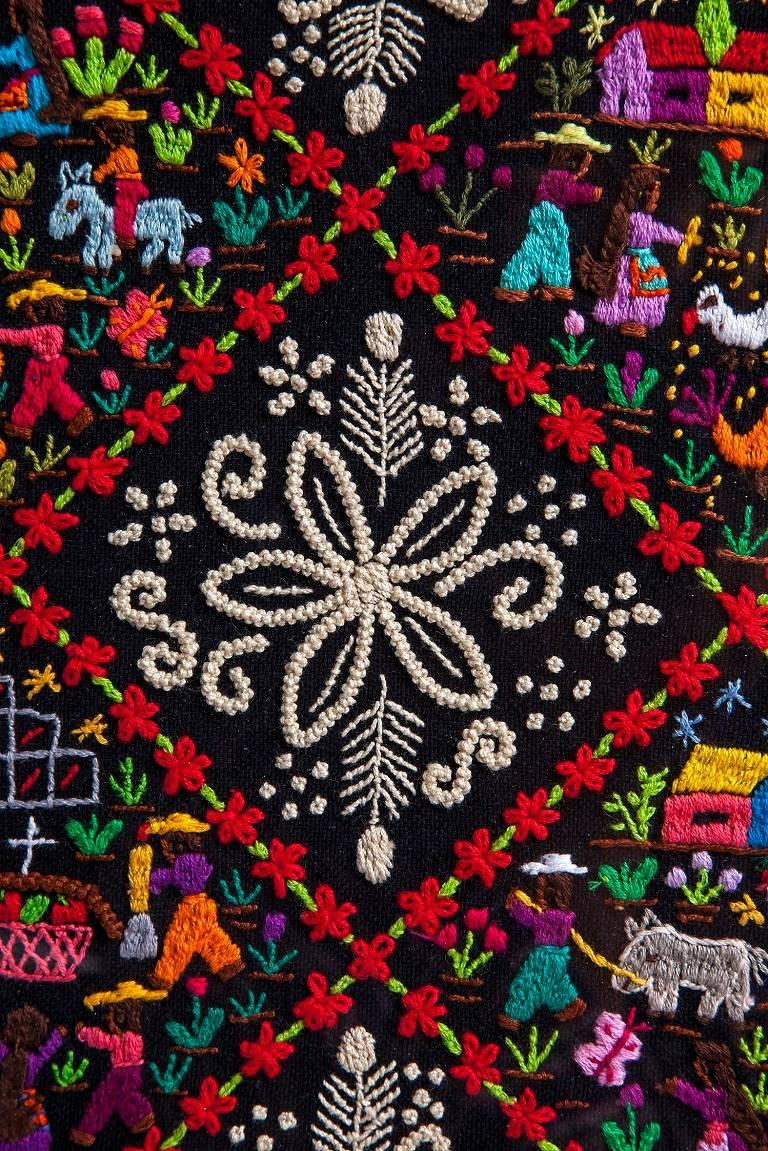Costumbres / Textiles Mexican Folk Art Embroidery Frame For Sale 2