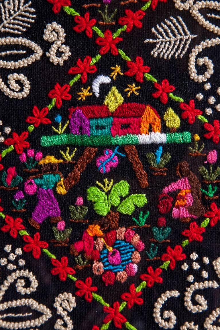 Costumbres / Textiles Mexican Folk Art Embroidery Frame For Sale 4