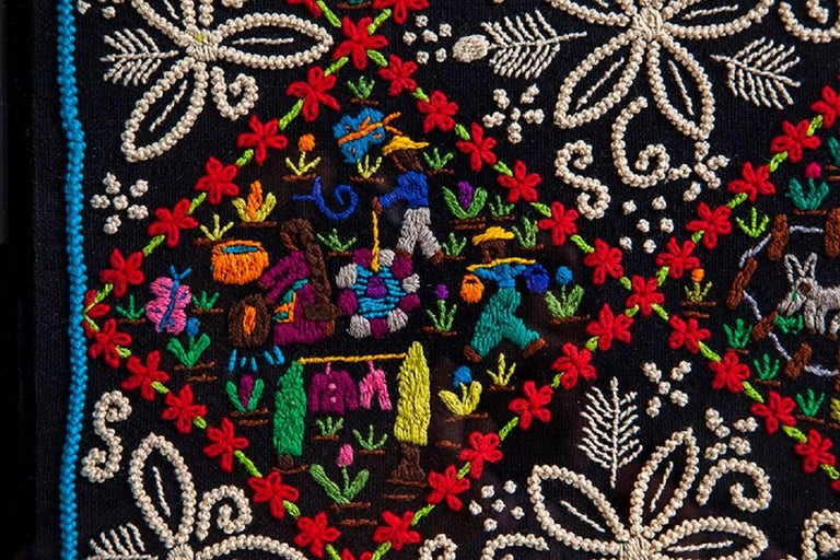 Costumbres / Textiles Mexican Folk Art Embroidery Frame For Sale 5