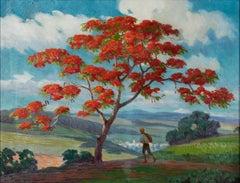 Paisaje con Flamboyan - Puerto Rican Art