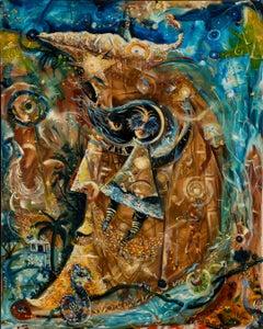 Niña luna y estrella - Surrealistic Puerto Rican Art