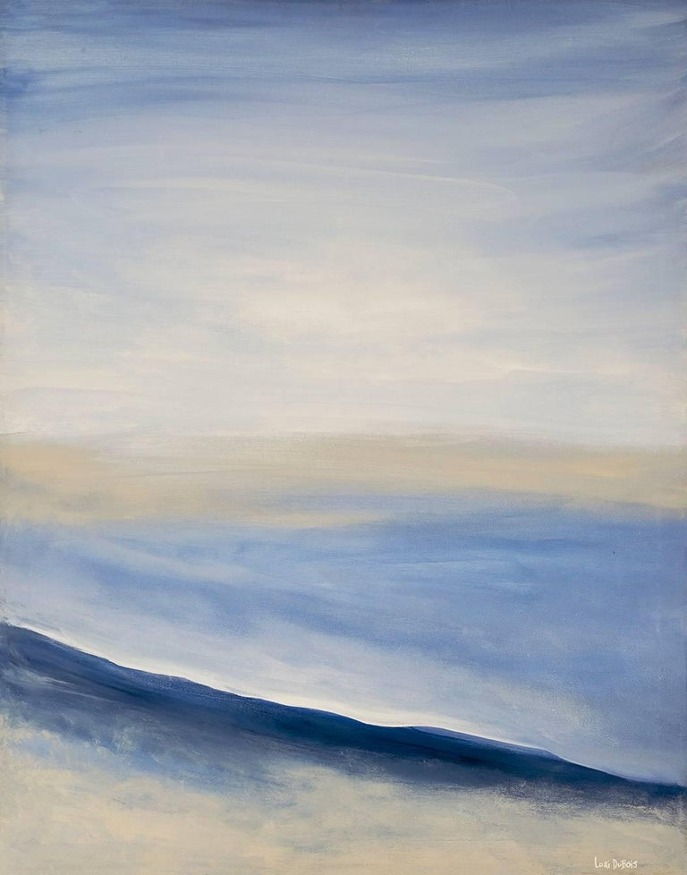 Dubois specializes in evocative seascapes that call to mind contemplative environments, serene places and tranquility itself.  Dubois' deft use of acrylics in White Sands recreates the sea and sand as impressions of feelings rather than as a literal