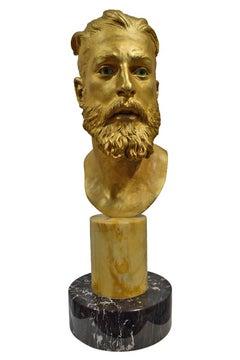 "Livio Scarpella ""Head of Bearded Man""Bronze and Gold Leaf Contemporary Sculpture"