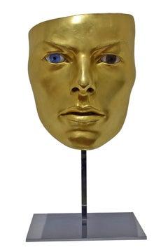 """Livio Scarpella """"Maschera di David Bowie"""" Bronze and Gold Leaf Sculpture"""