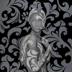 """Danilo Martinis """"Camouflaged Woman"""" Oil on Canvas Contemporary Art Painting"""