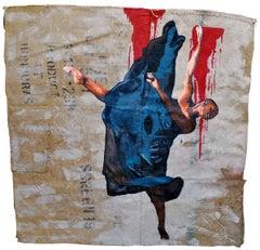 "Gianluca Resi ""Farewell Step"" Enamel on  Coffee Sack Contemporary Art Painting"