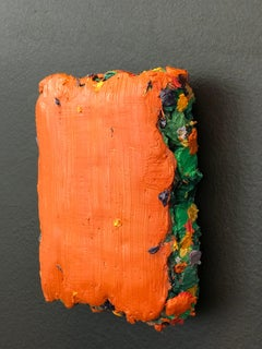 Orange Abstract Icon-size oil paint on wood panel