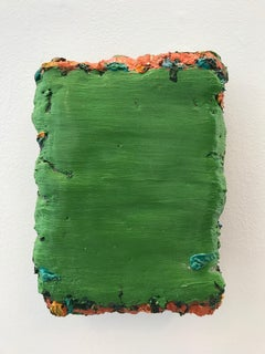 Green Abstract Icon-size oil paint on wood panel