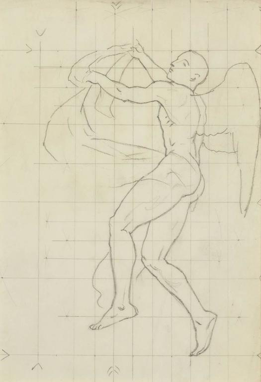 Study of Winged Figure for 'The Winds' - Art by John Singer Sargent