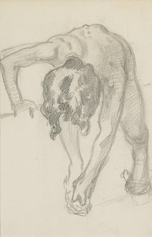 Figure Bending Over - Art by John Singer Sargent