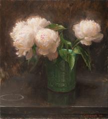 Pink Peonies in a Green Vase