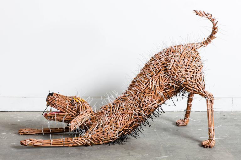 Federico Uribe Figurative Sculpture - Stretching Dog