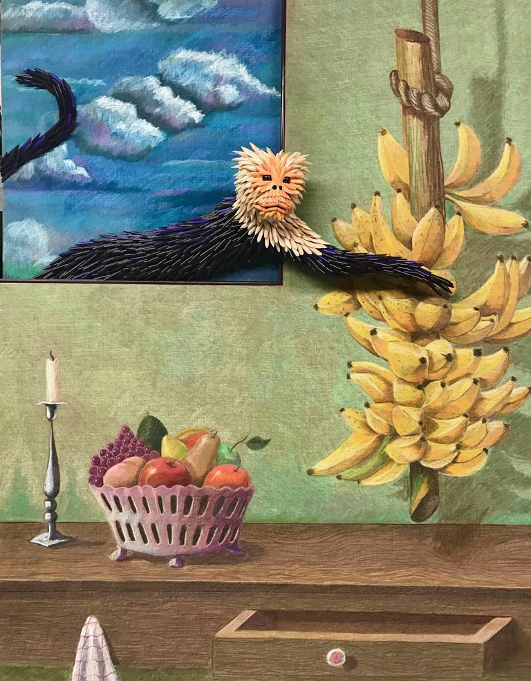 """Medium: Colored pencil drawing and collage """"Monkey Business"""" is from Federico Uribe's newest series of Colored pencil collage - combining his iconic additive sculpture created out of colored pencils on top of his drawings made with colored pencil."""
