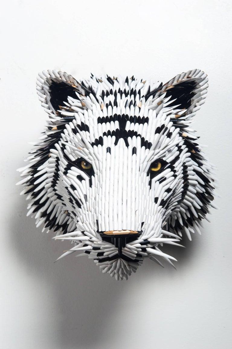 White Tiger Head - Mixed Media Art by Federico Uribe