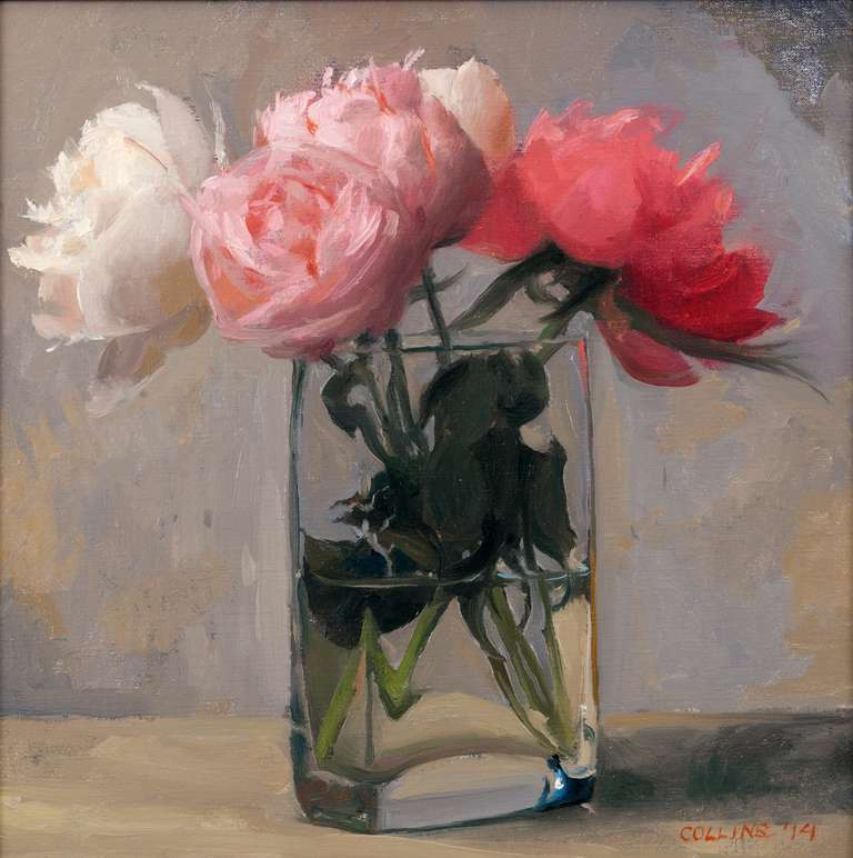 Jacob collins peonies in a square glass at 1stdibs