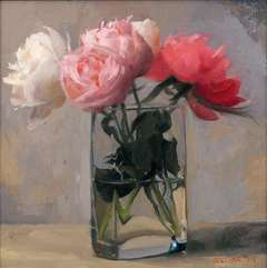 Peonies in a Square Glass