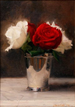 Red and White Roses in a Silver Cup