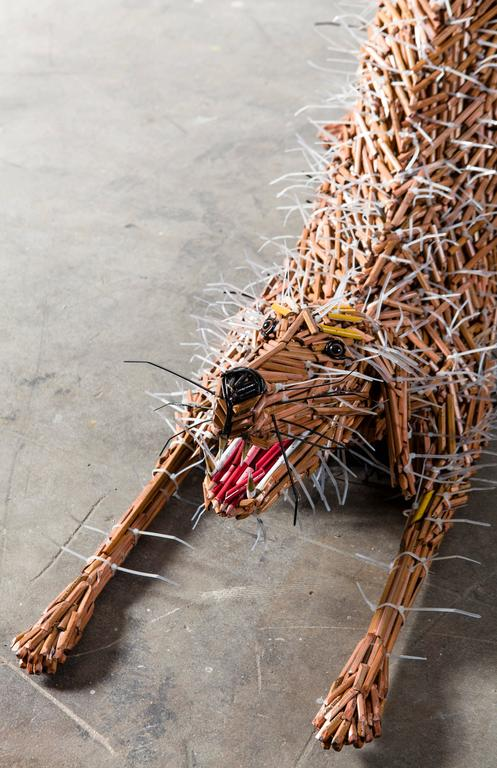 Stretching Dog - Contemporary Sculpture by Federico Uribe