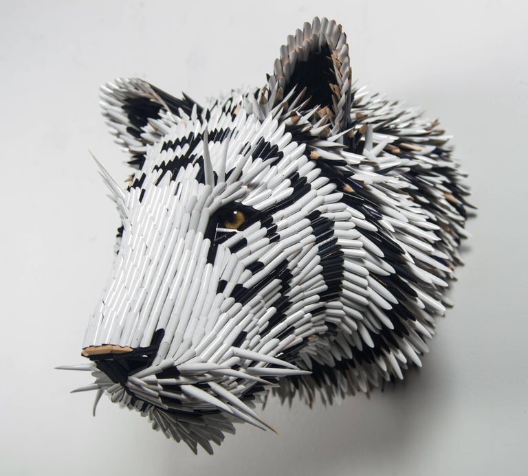 White Tiger Head - Contemporary Mixed Media Art by Federico Uribe