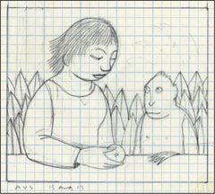 Drawing for Loretta Feeding a Monkey