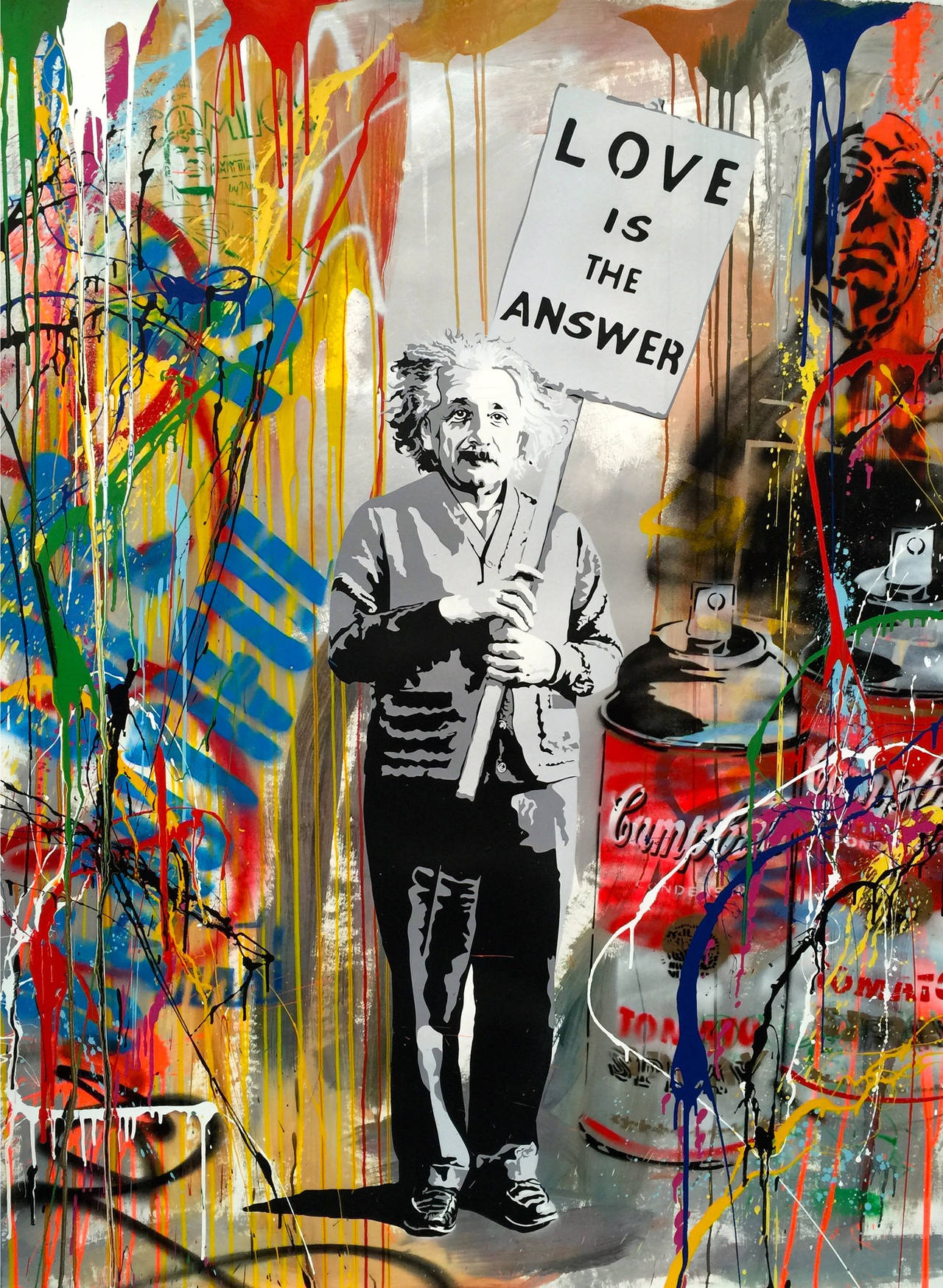 mr brainwash love is the answer mixed media mixed