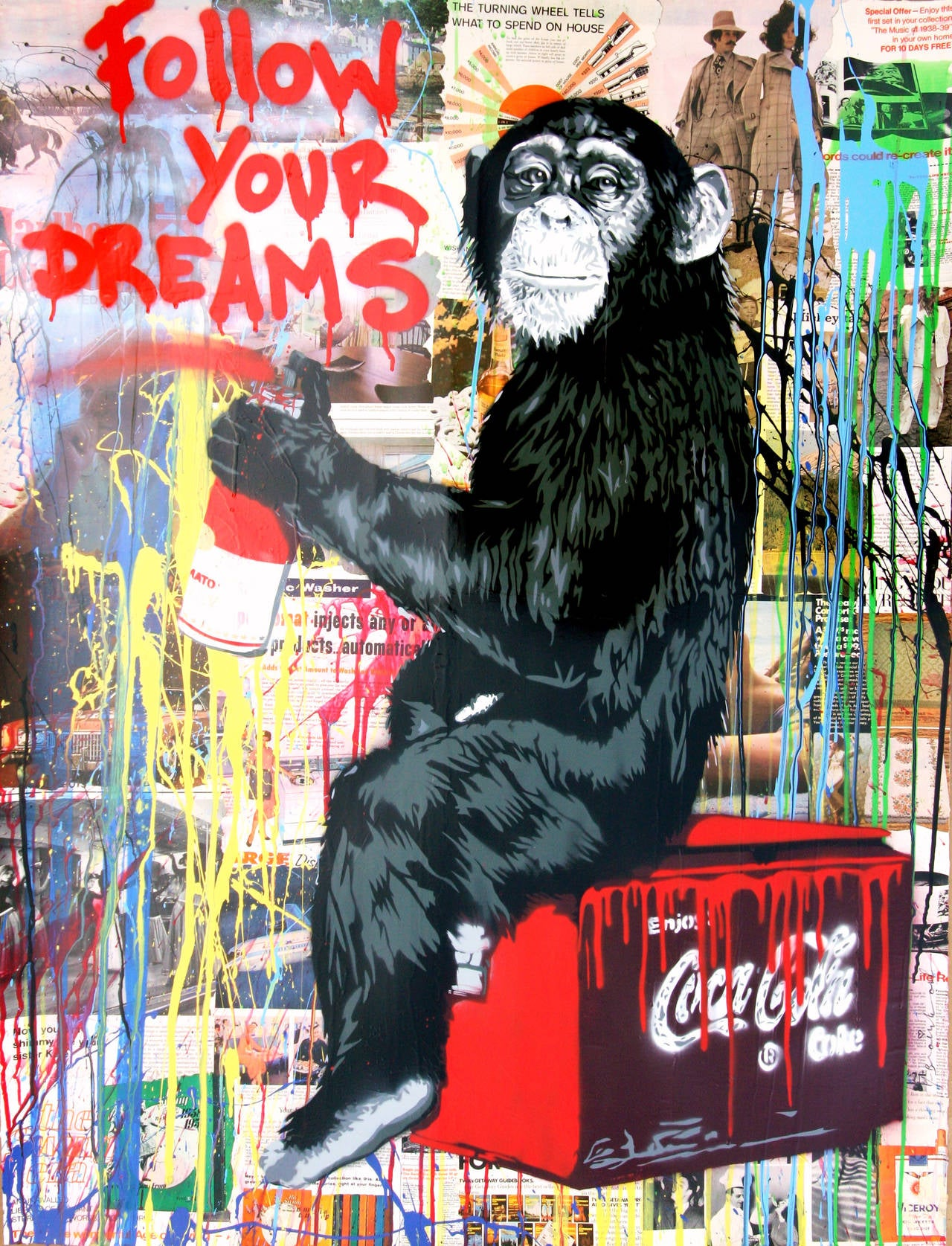 Mr brainwash everyday life mixed media at 1stdibs for Mural painted by street artist mr brainwash