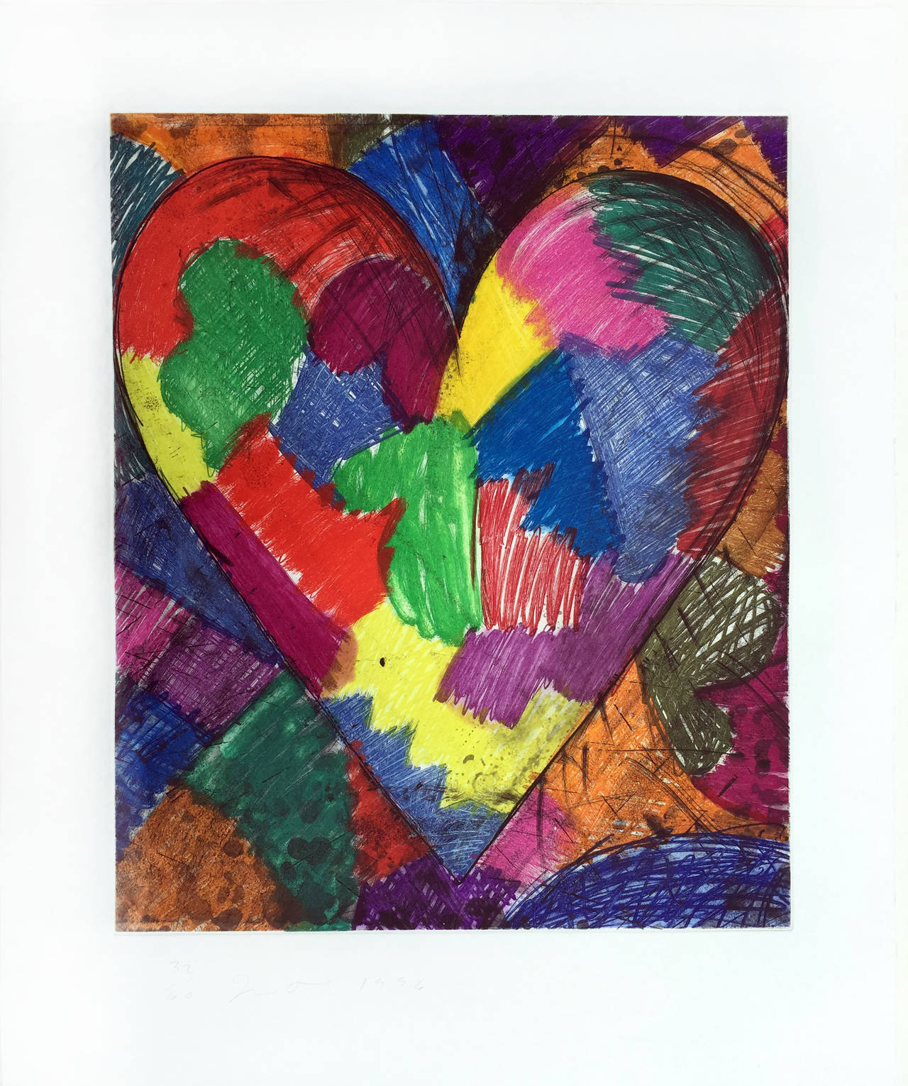 Jim Dine - A Beautiful Heart, Print at 1stdibs