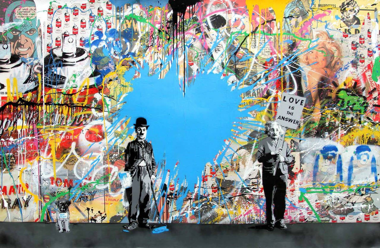 Mr brainwash juxtapose mixed media mixed media at for Mural painted by street artist mr brainwash