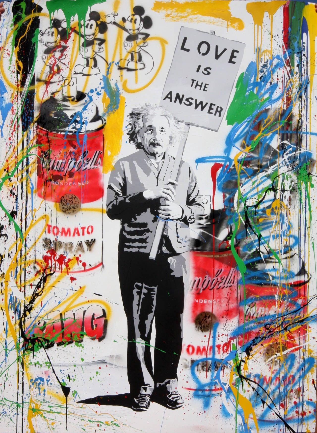 Mr brainwash einstein mixed media mixed media at 1stdibs for Mural painted by street artist mr brainwash