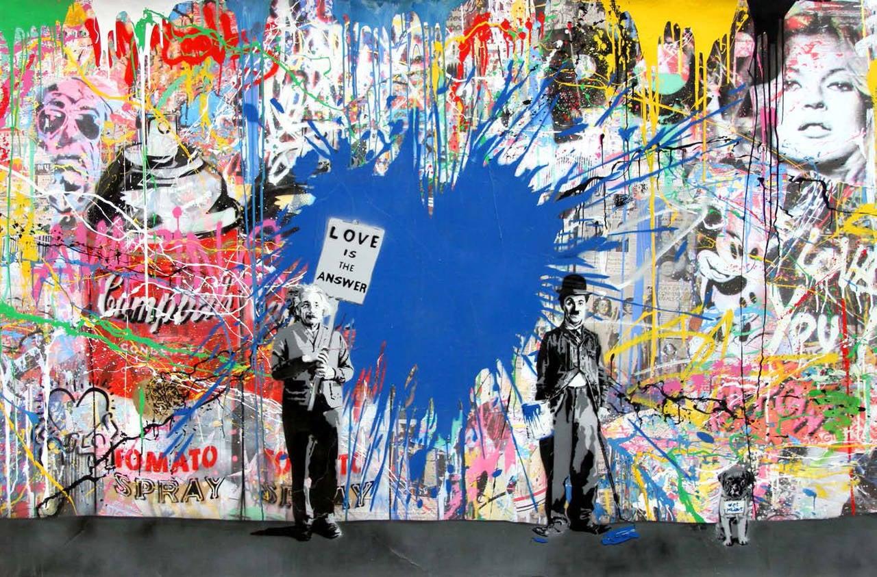 Mr brainwash graffiti art juxtapose blue heart mixed for Mural painted by street artist mr brainwash