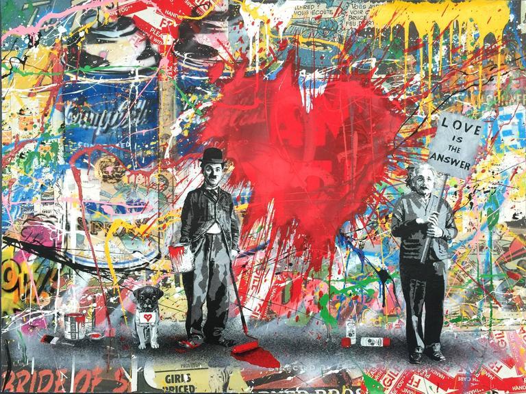 Mr brainwash juxtapose red heart mixed media at 1stdibs for Mural painted by street artist mr brainwash