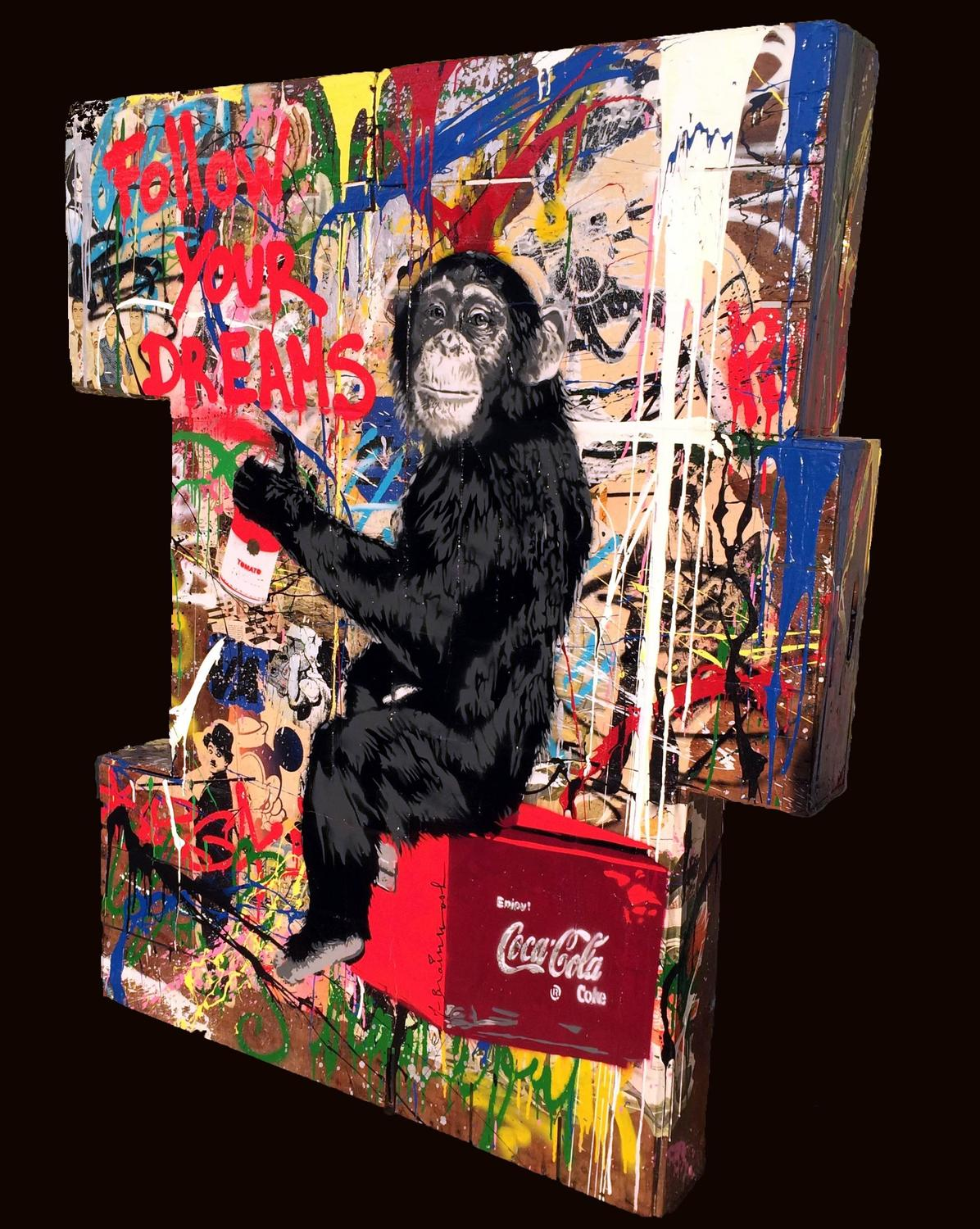 Mr brainwash everyday life on stacked crates at 1stdibs for Mural painted by street artist mr brainwash