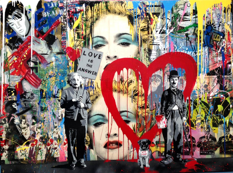 Mr brainwash juxtapose madonna painting on canvas for Mural painted by street artist mr brainwash