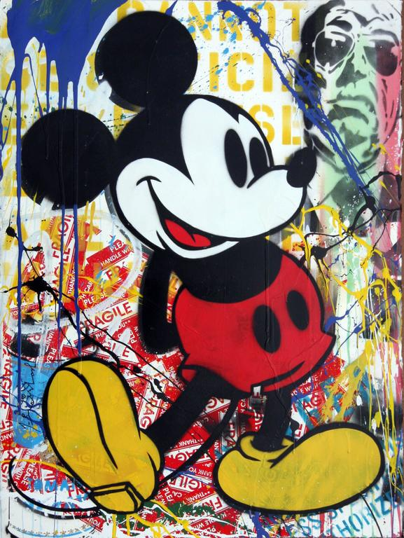Mr brainwash mickey mouse unique mixed media at 1stdibs for Mural painted by street artist mr brainwash