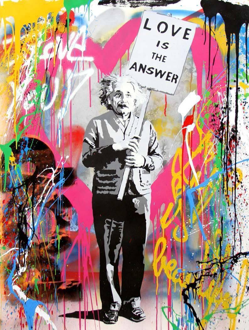 Mr brainwash street art einstein mixed media at 1stdibs for Mural painted by street artist mr brainwash