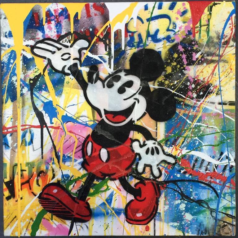 Mr brainwash vintage mickey canvas painting at 1stdibs for Mural painted by street artist mr brainwash
