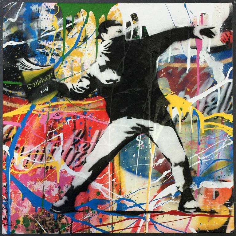 Mr brainwash graffiti art thrower canvas painting for Mural painted by street artist mr brainwash