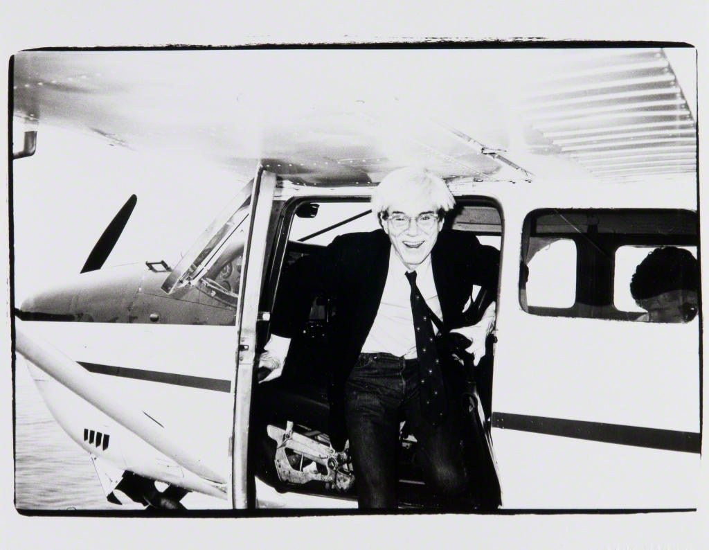 Andy Warhol, Andy Warhol on a Seaplane in Montauk, 1982