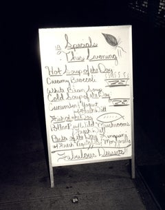 Andy Warhol, Photograph of a Sandwich Board Menu