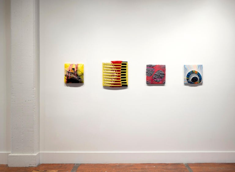 Untitled (1) is an abstract wall sculpture made with garden hose, nylon, crochet tablecloth and scarf on canvas. Multiple layers of fabric, that serves as a substitute for paint, creating an intense illusion of space with an ambiguous foreground and