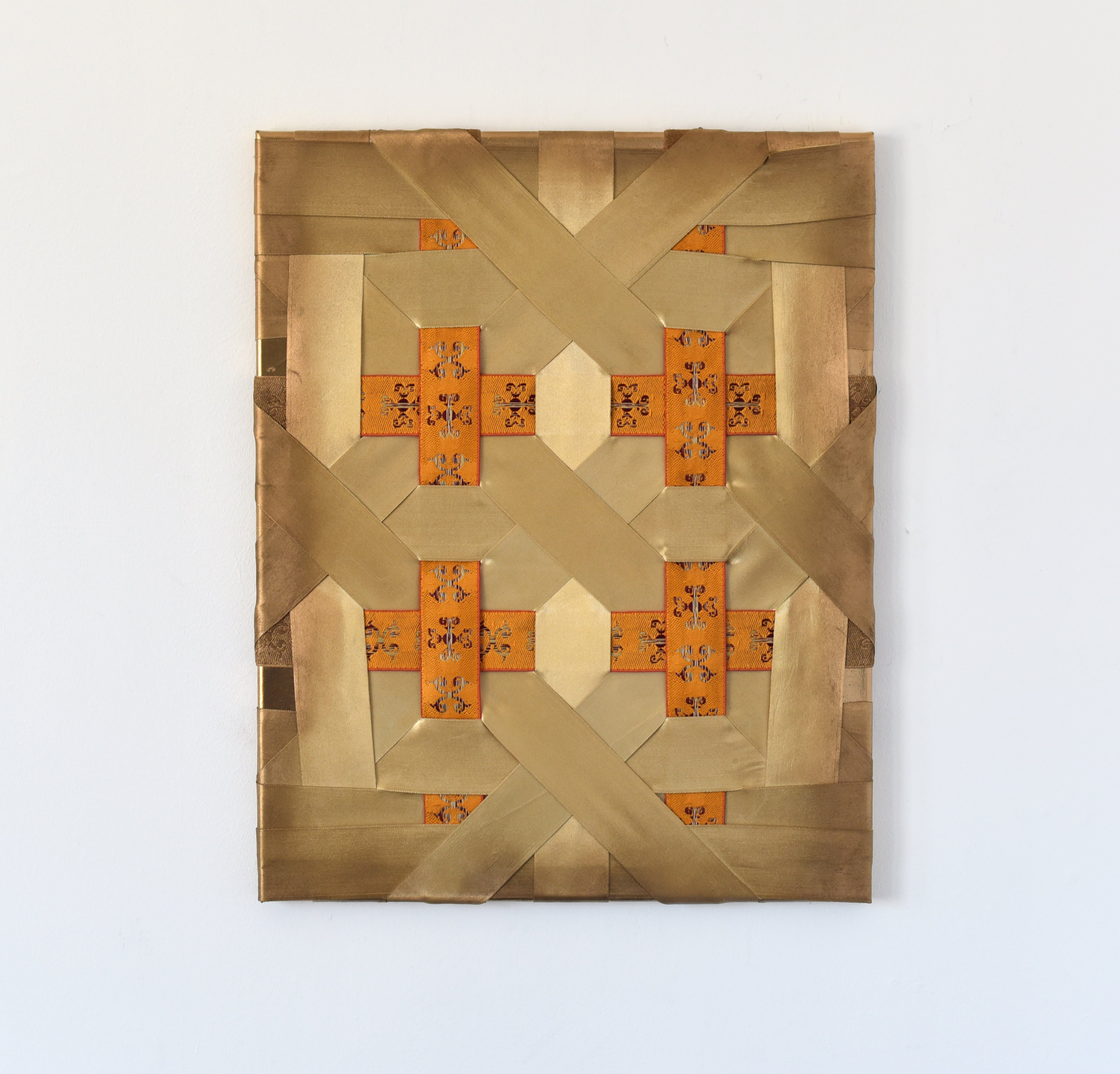 Morning Light (tan gold curry yellow chinese fabric wall thread abstract grid)