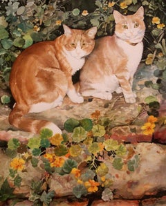 Phyllis Londraville (American 1920 - 2002); Two Cats; watercolor on paper
