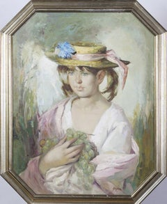 Eugene Guyard (French 1901 - 1970); Portrait of a Young Girl with Hat and Grapes