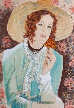 Arie Azene (German 1934); Portrait Of A Lady; watercolor