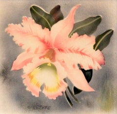 signed O'Keeffe; Pink Orchid; watercolor