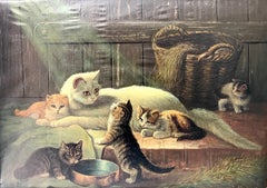 M Hennawy; Cat Family; oil on canvas; early 20th c