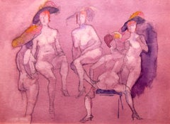 Irma Magid (American 1909 - 2003); Study of Women; watercolor and ink on paper;