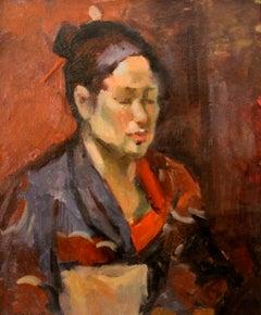 Sergei Bongart (Russian 1918 - 1985); Portrait with Kimono; oil on canvas