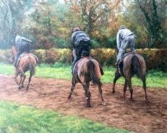 Anne Briggs (British 20th c); Three Race Horses; oil on canvas
