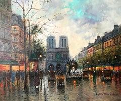 Antoine Blanchard (French 1910 - 1988); Notre-Dame de Paris; oil on canvas;